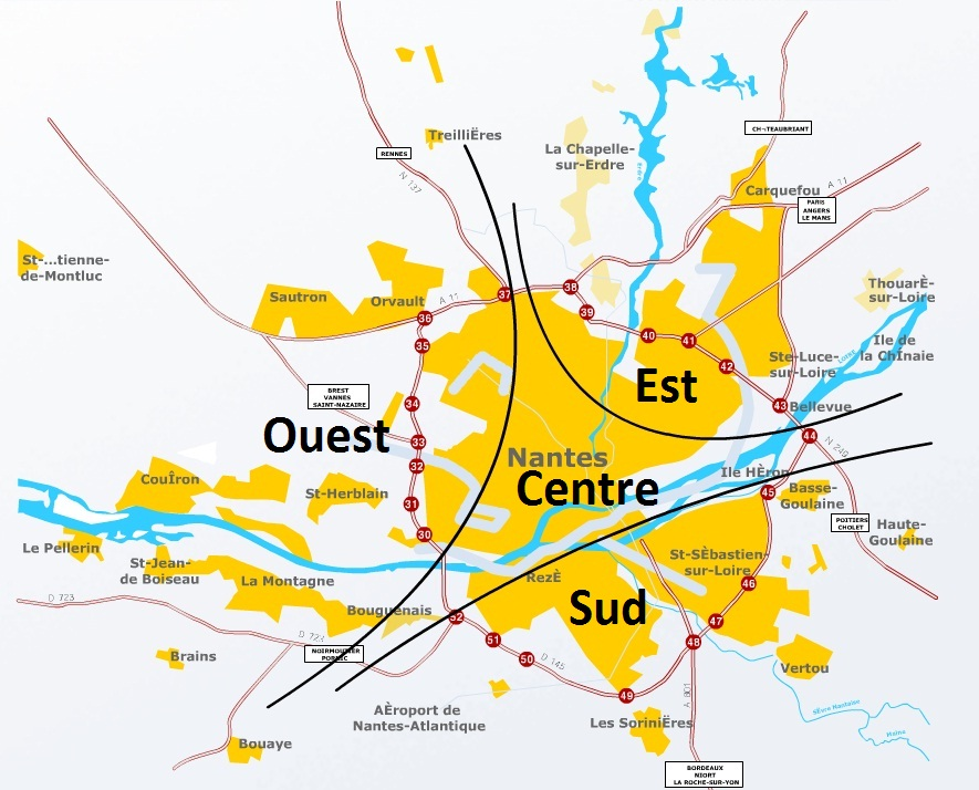 Plan des secteurs Nantes